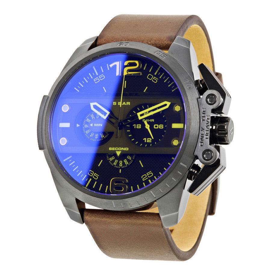 Ironside Chronograph Blue Dial Brown Leather Men's Watch
