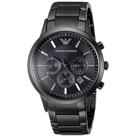 Chronograph Black Dial Black Steel Bracelet Men's Watch