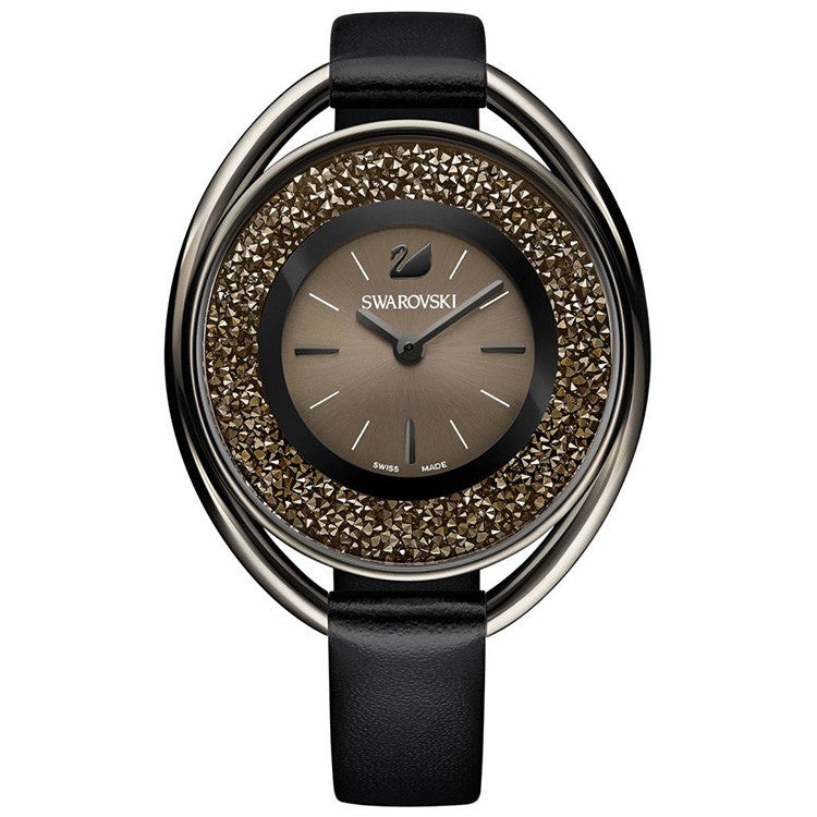 Crystalline Black-tone Black Leather Strap Ladies Watch