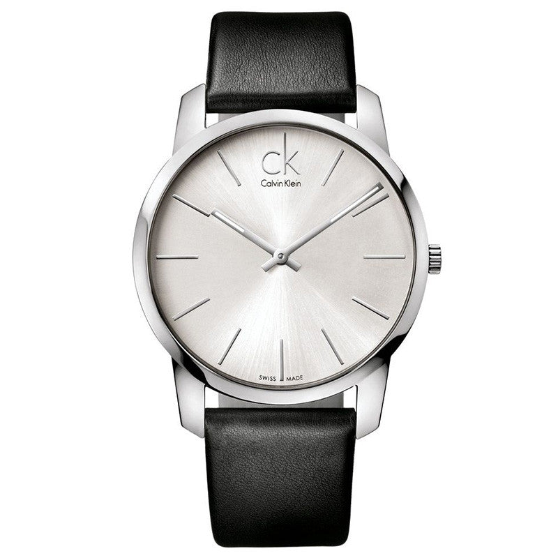 City Silver Dial Black Leather Men's Watch
