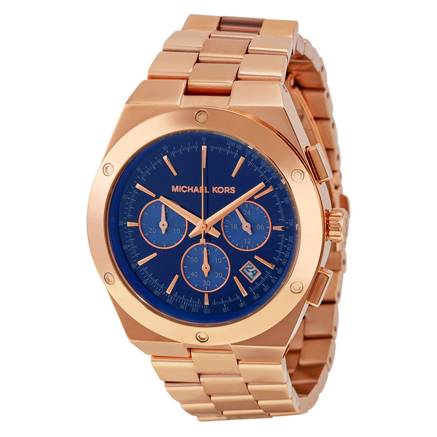 Michael Kors Mk6148 Reagan Chronograph Blue Dial Rose Gold Tone