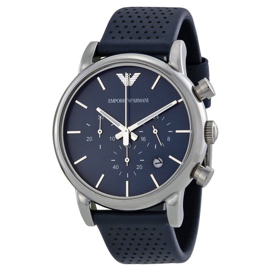 Classic Chronograph Navy Dial Navy Leather Strap Men's Watch