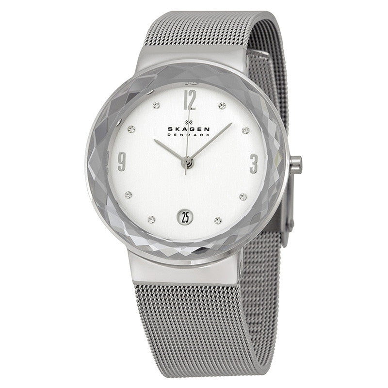Leonora Silver Dial Stainless Steel Mesh Ladies Watch