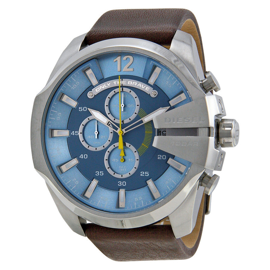 Mega Chief Chronograph Light Blue Dial Brown Leather Men's Watch