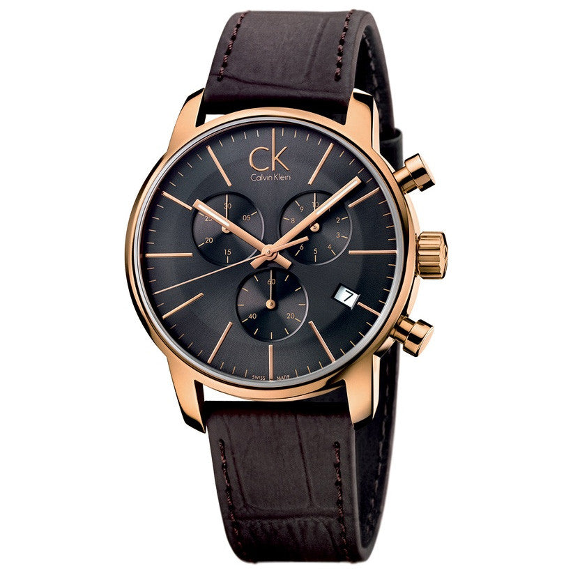 City Chronograph Brown Leather Men's Watch