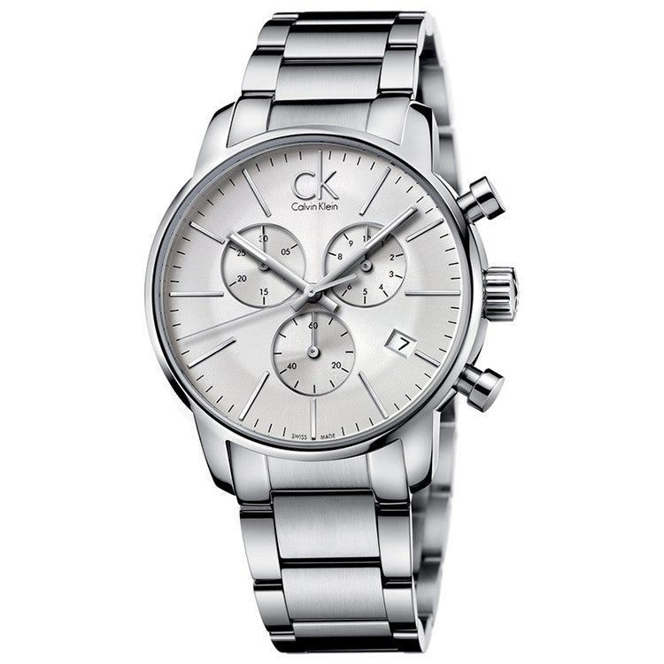City Chronograph White Stainless Steel Men's Watch