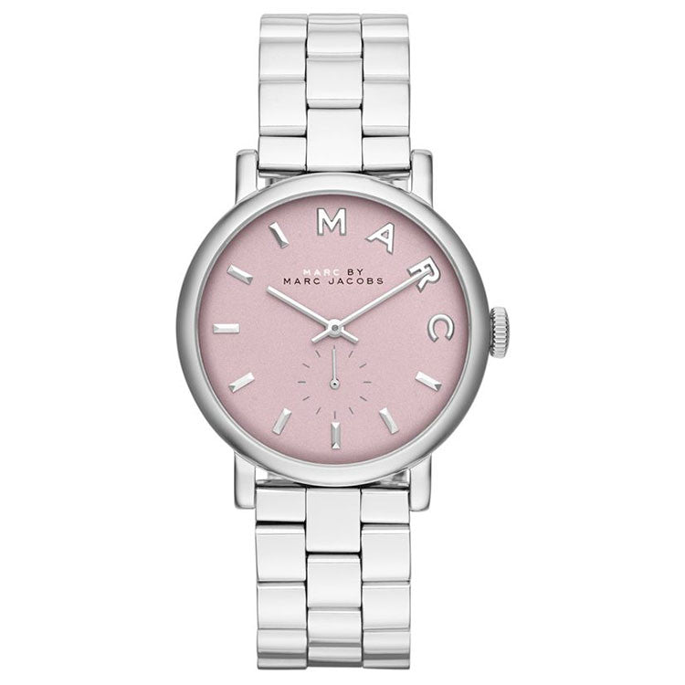 Baker Pink Dial Stainless Steel Ladies Watch