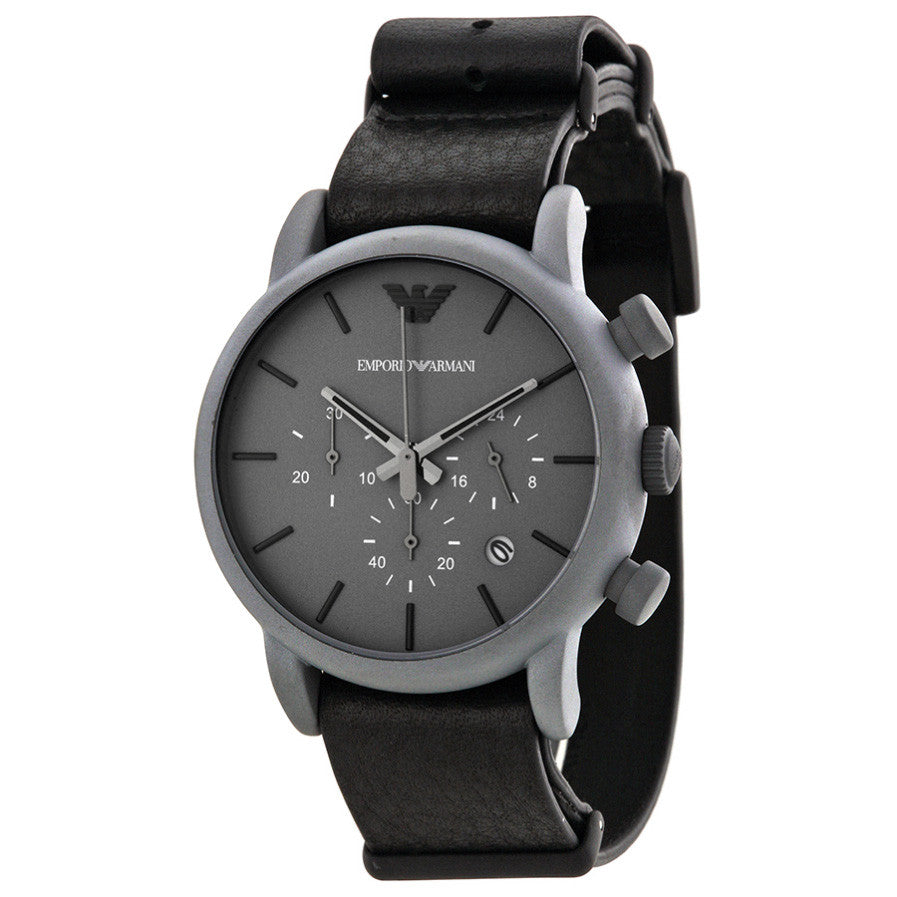 Chronograph Grey Dial Grey Leather Men's Watch