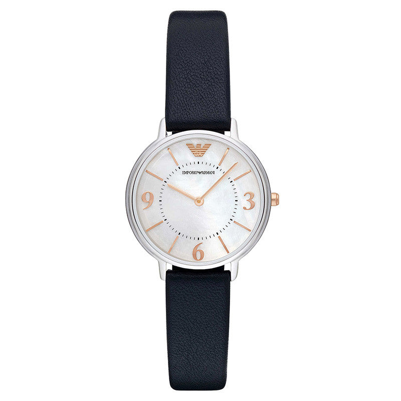 Mother Of Pearl Dial Blue Leather Ladies Watch