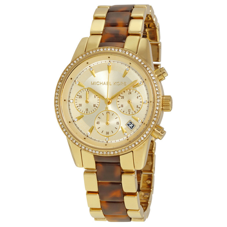 Ritz Gold Chronograph Dial Ladies Watch