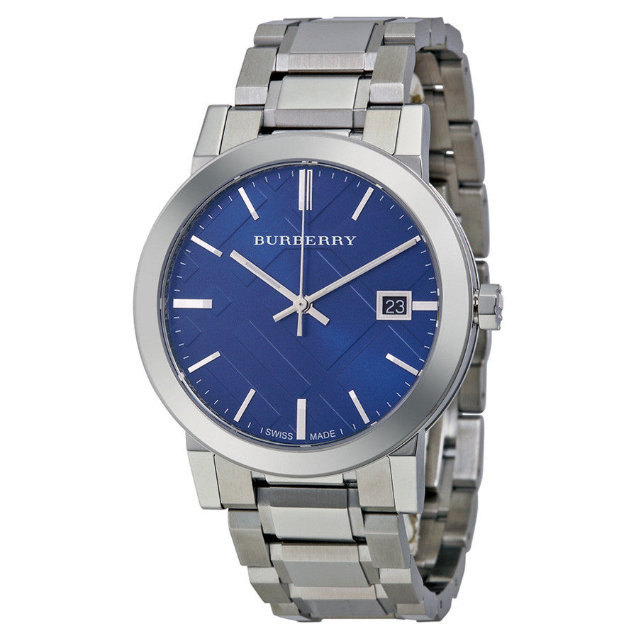 Blue Check Stamped Dial Stainless Steel Men's Watch