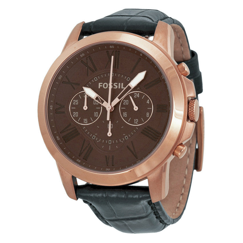 Grant Chronograph Brown Dial Black Leather Men's Watch