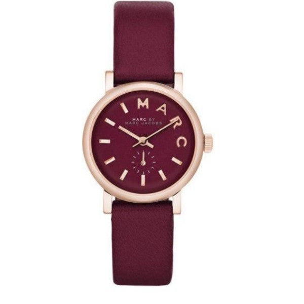 Baker Mini Burgundy Rose Gold Case Ladies Watch