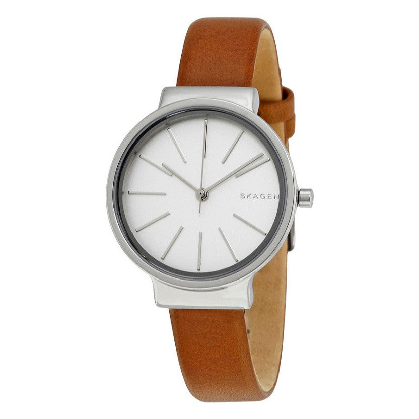 Ancher White Dial Ladies Leather Watch