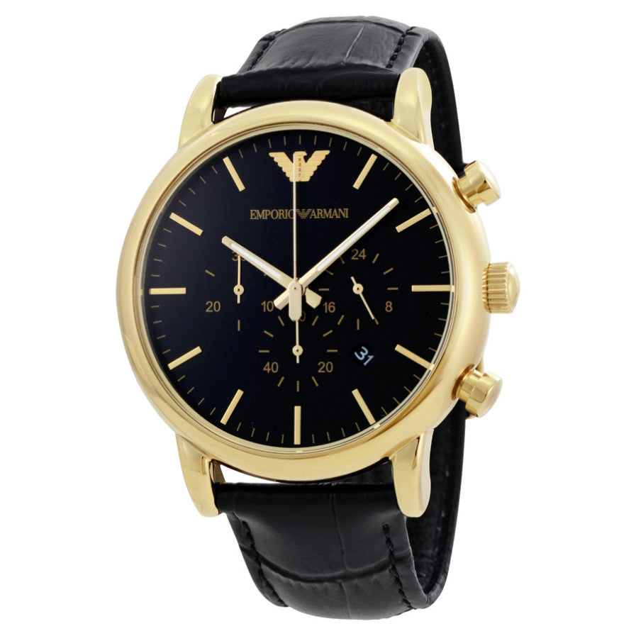 Luigi Black Dial Chronograph Black Leather Men's Watch