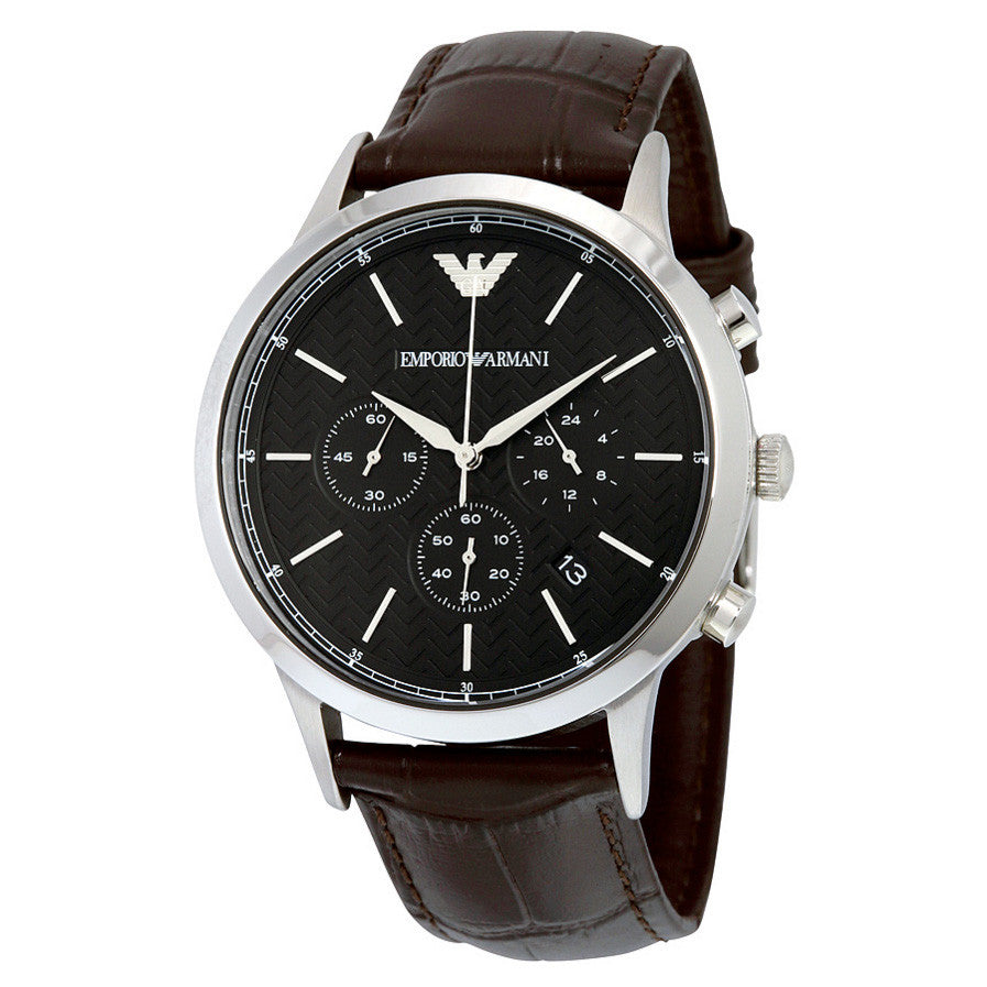 Black Dial Chronograph Brown Leather Men's Watch