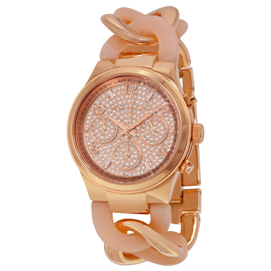 Runway Twist Rose Dial Rose Gold-tone Ladies Watch