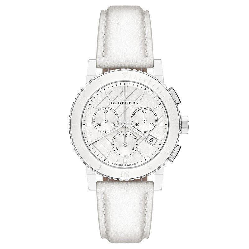 The City Chronograph White Dial White Leather Ladies' Watch