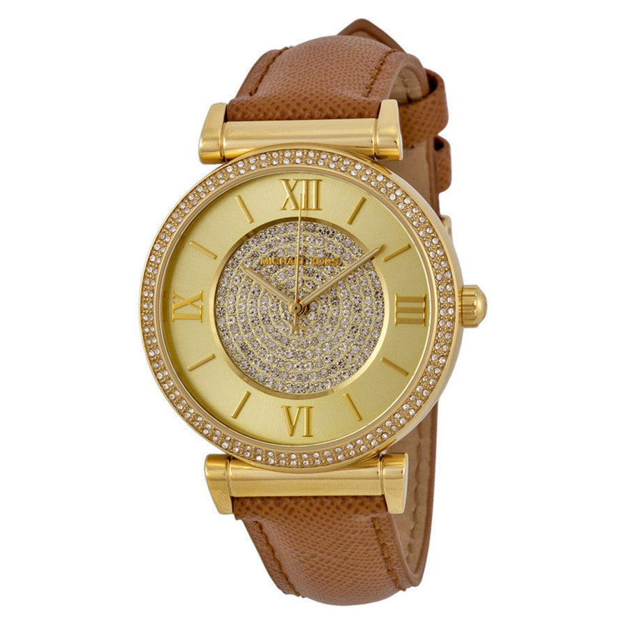 Catlin Gold Crystal Pave Dial Leather Ladies Watch