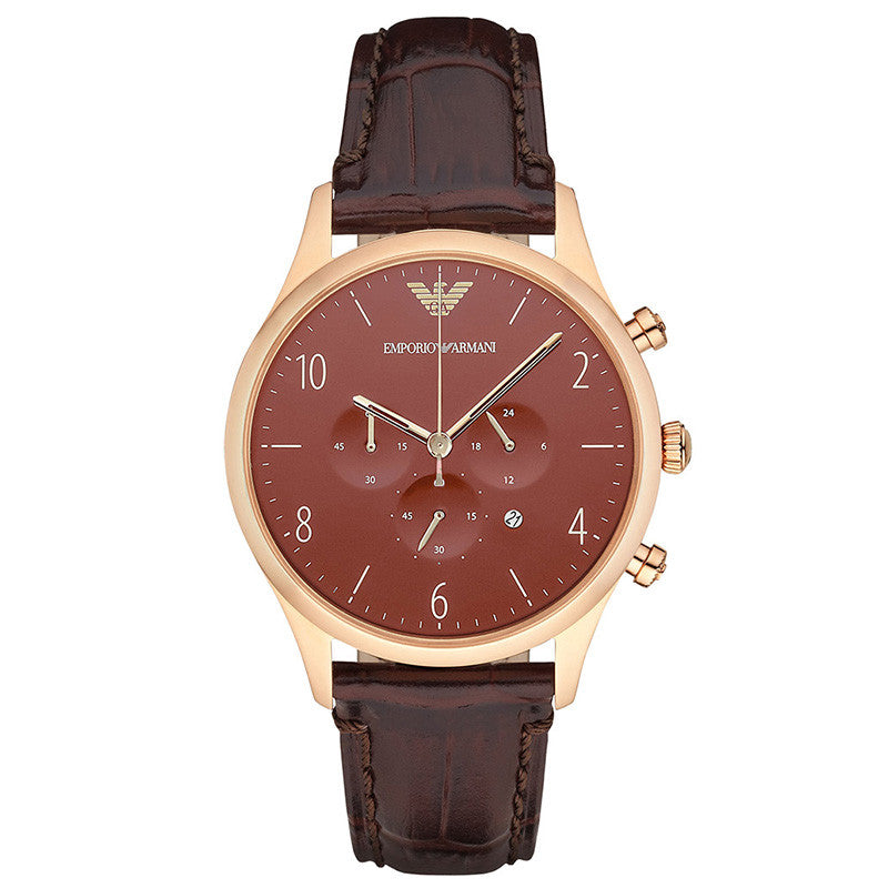 Classic Chronograph Burgundy Dial Brown Leather Men's Watch