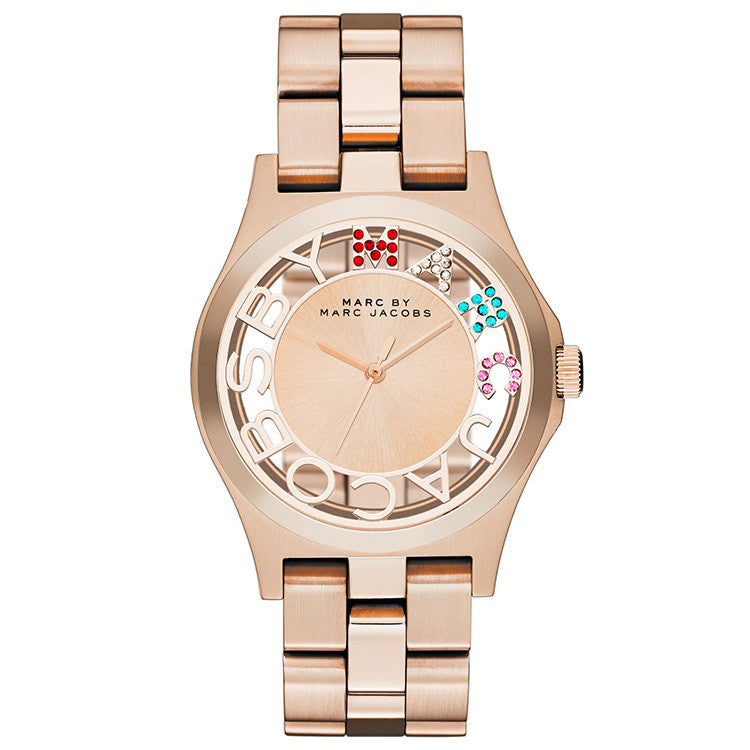 Henry Skeleton Dial Rose Gold-tone Stainless Steel Ladies Watch