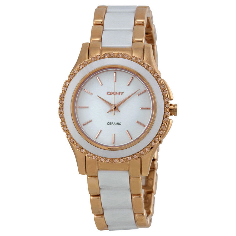 White Dial Rose Gold-tone White Ceramic Ladies Watch