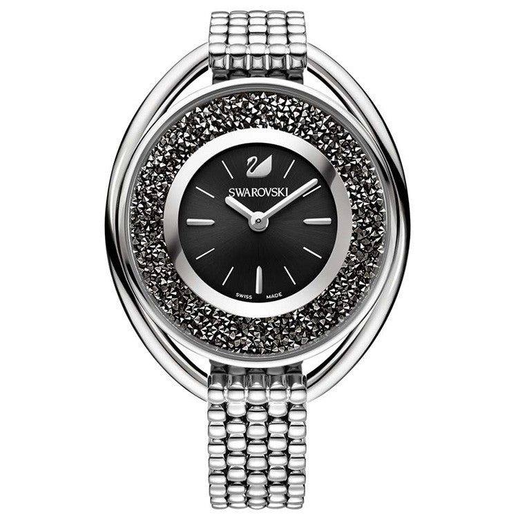 Crystalline Black Dial Stainless Steel Ladies Watch