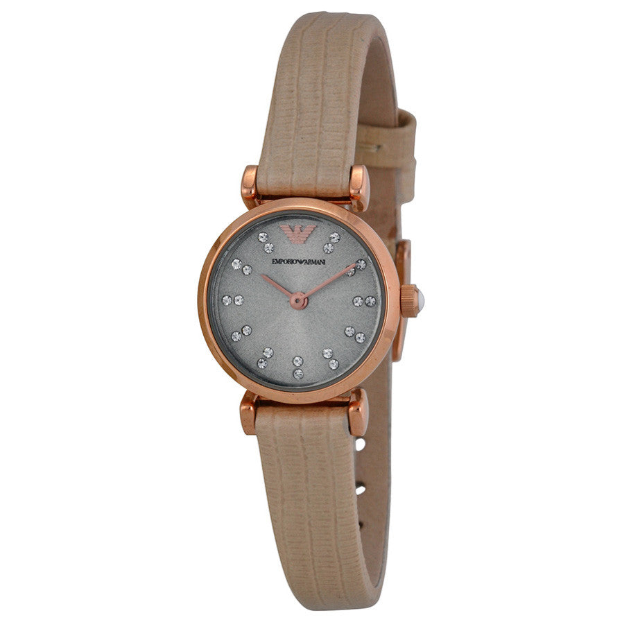 Emporio Retro Warm Grey Dial Beige Leather Strap Ladies Watch