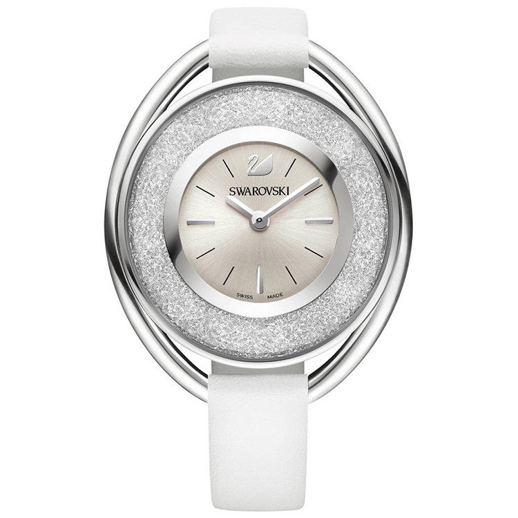 Crystalline White Dial White Leather Strap Ladies Watch