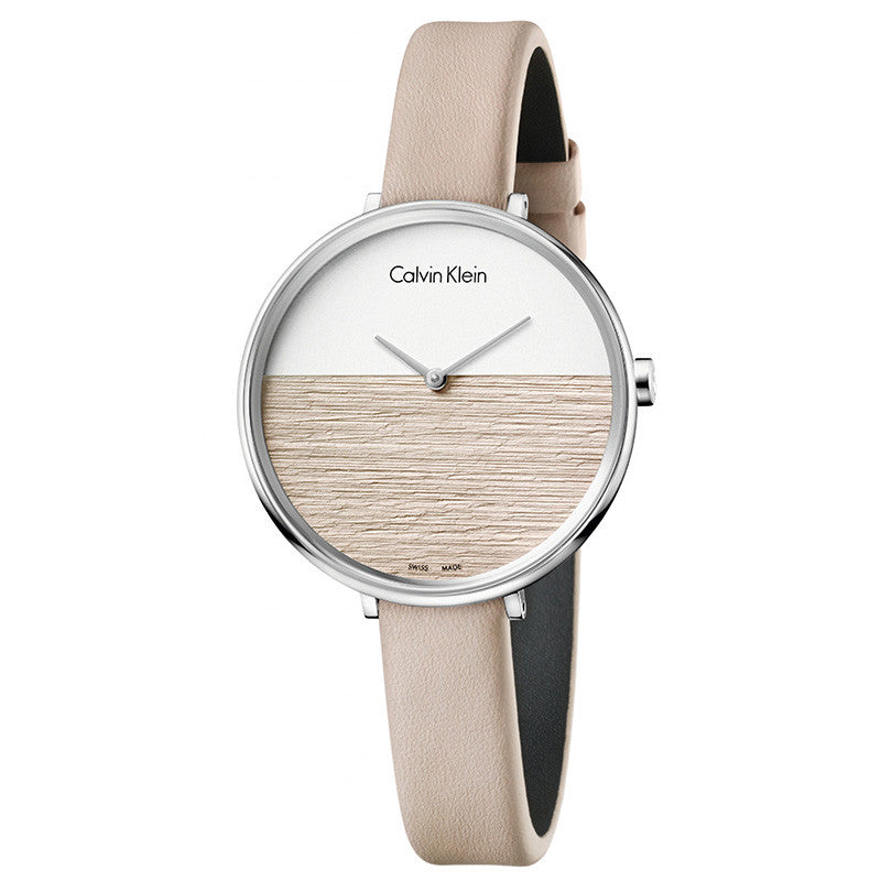 Rise Two-tone Dial Gold Leather Strap Ladies' Watch