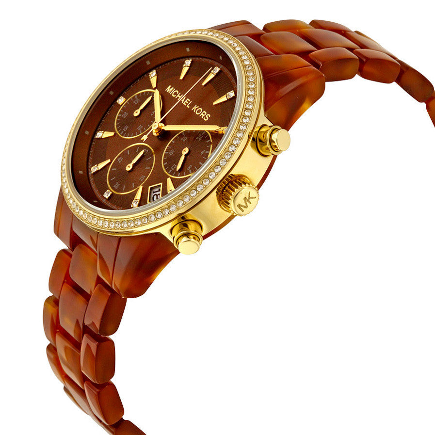 Ritz Brown Dial Chronograph Tortoise Acetate Ladies Watch