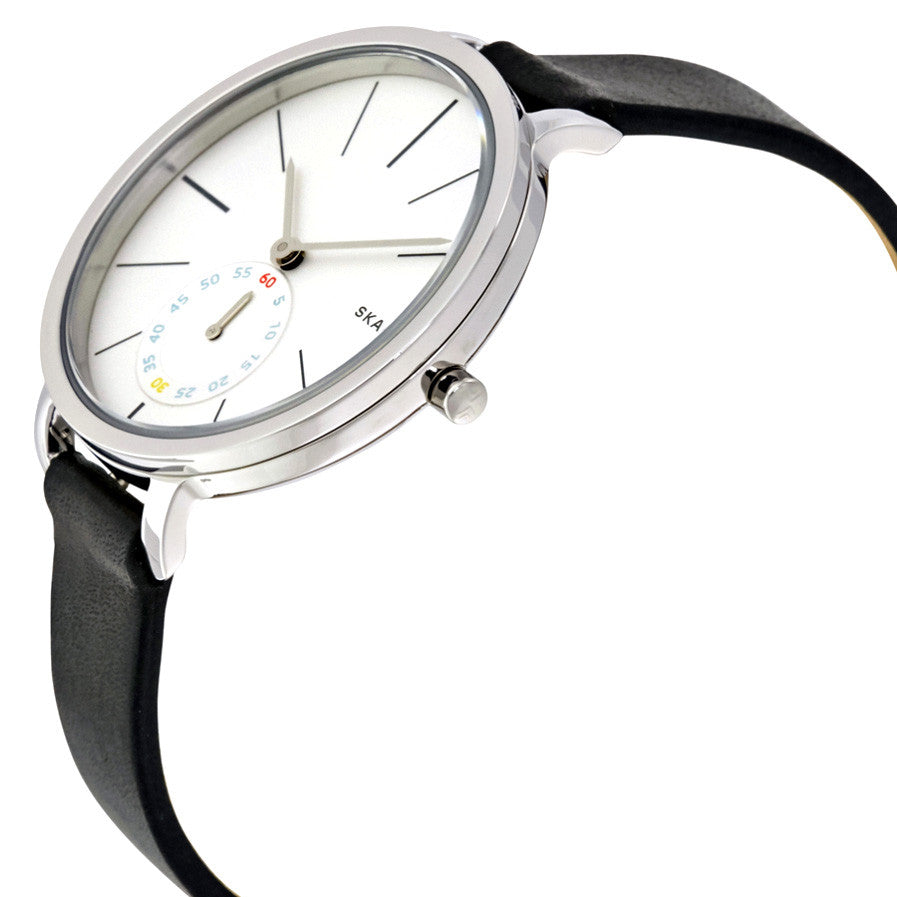 Hagen White Dial Black Leather Ladies Watch