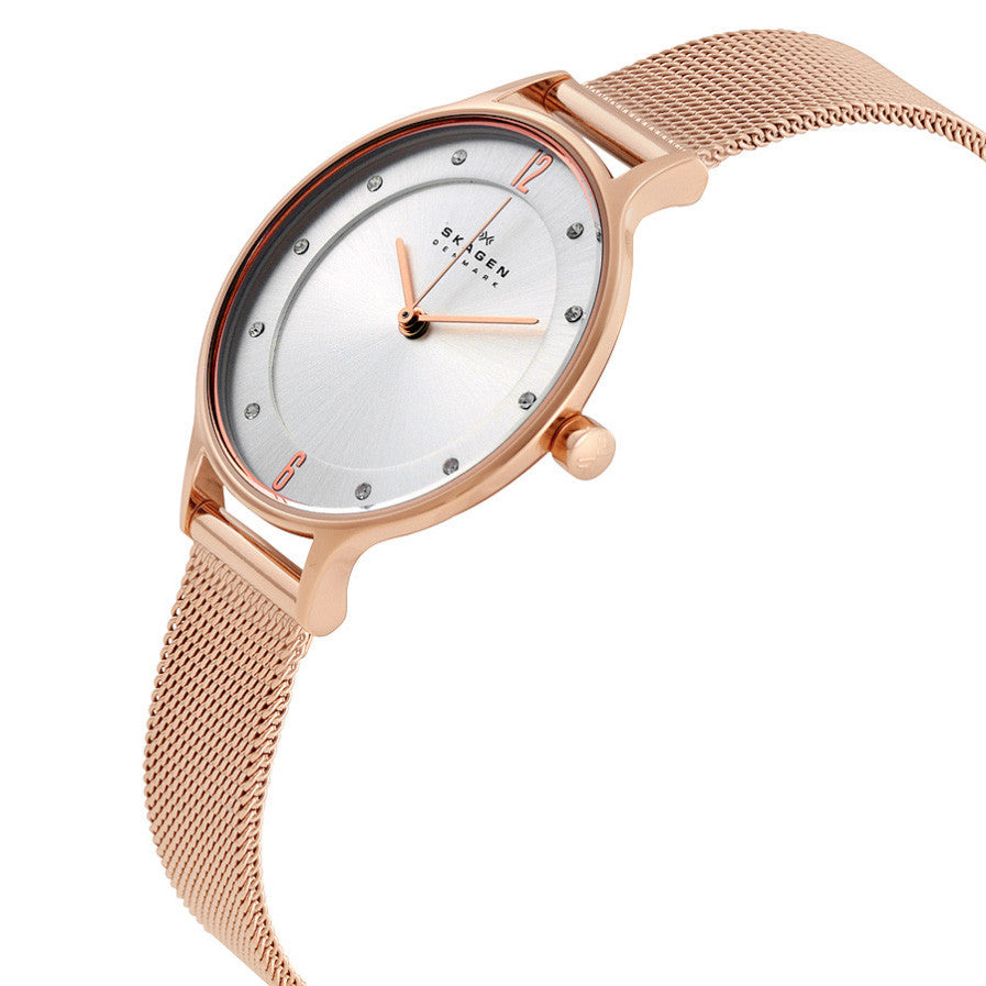 Anita Silver Dial Rose Gold-tone Ladies Watch