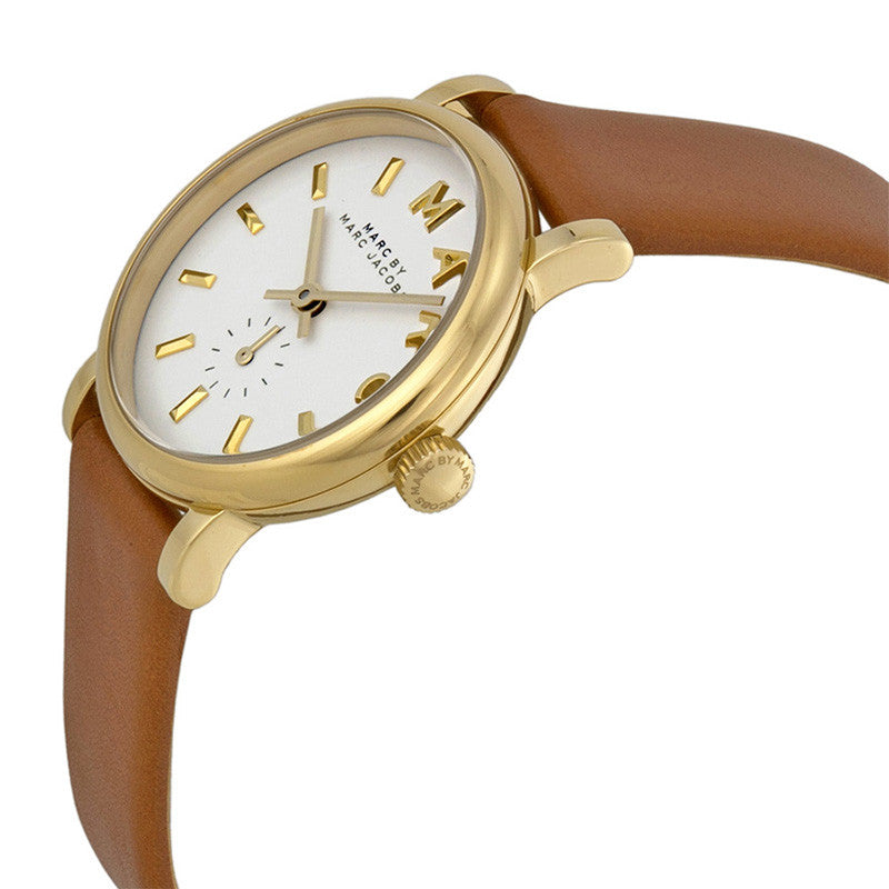 Baker Mini White Dial Leather Ladies Watch