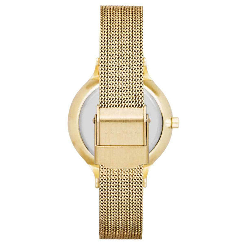 Anita Multi-Function Gold Dial Gold-tone Mesh Ladies Watch