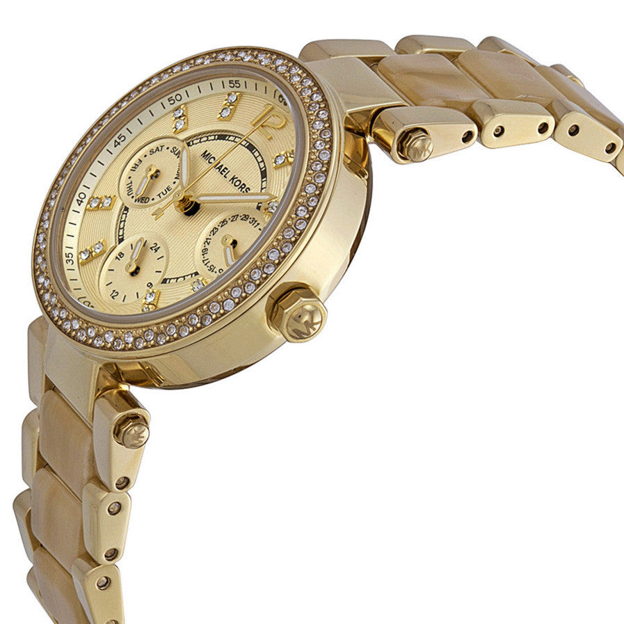 Parker Multi-Function Gold Dial Gold-tone and Horn Accetate Ladies Watch