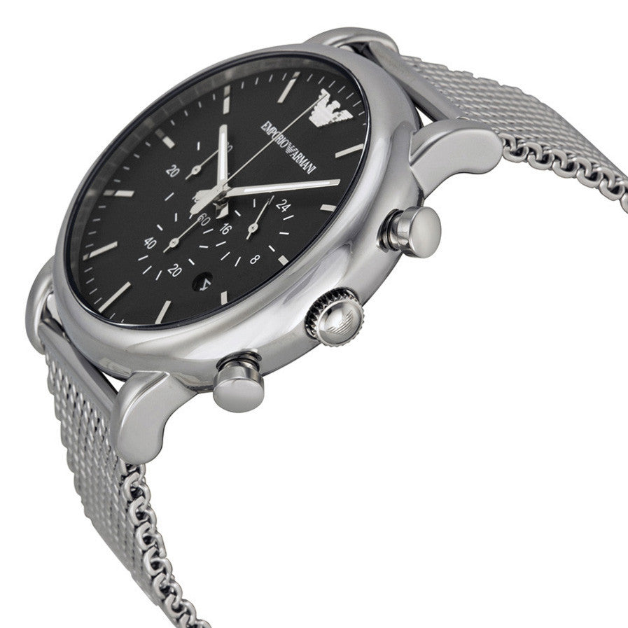 Emporio Classic Chronograph Black Dial Stainless Steel Mesh Men's Watch