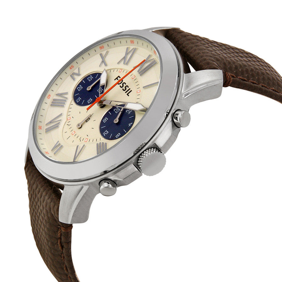 Grant Chronograph White Dial Brown Leather Men's Watch