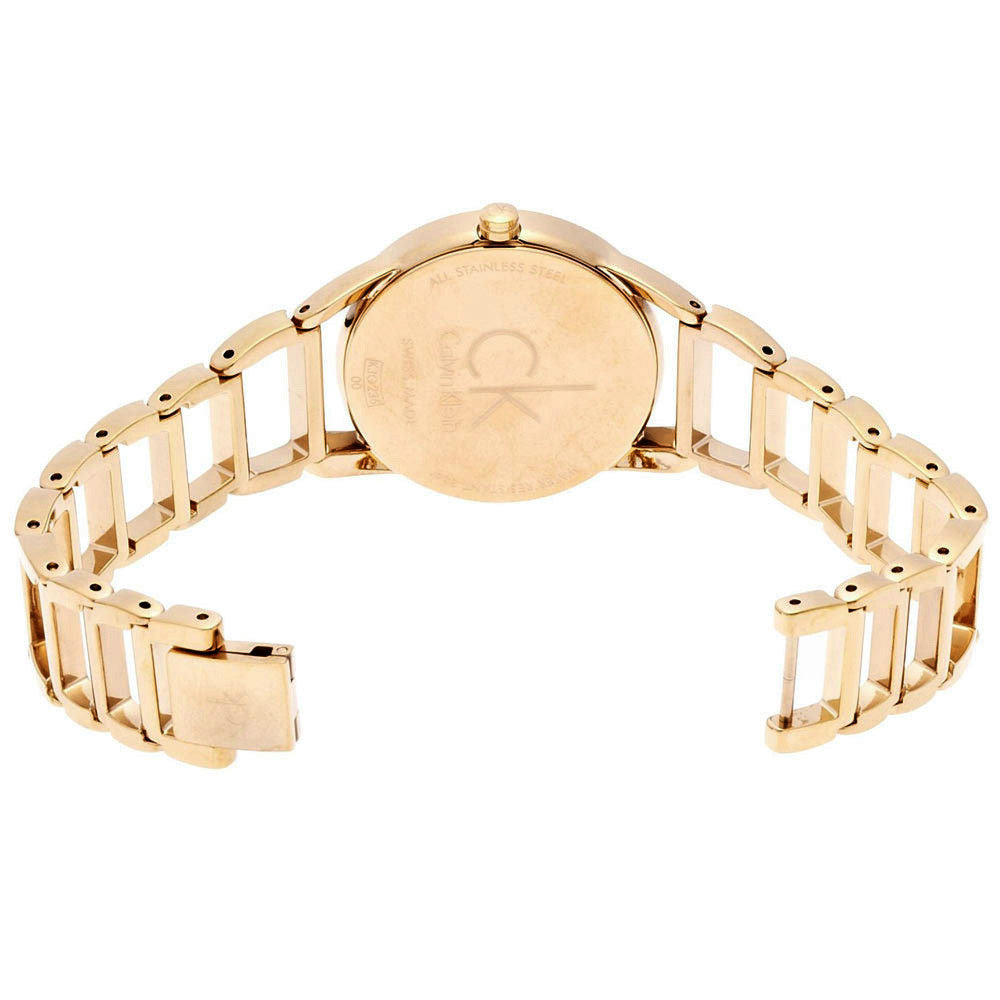 Stately Steel Dial Gold-tone Ladies' Watch