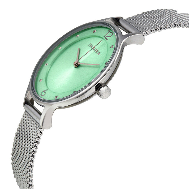 Anita Light Green Sunray Dial Stainless Steel Mesh Bracelet Ladies Watch