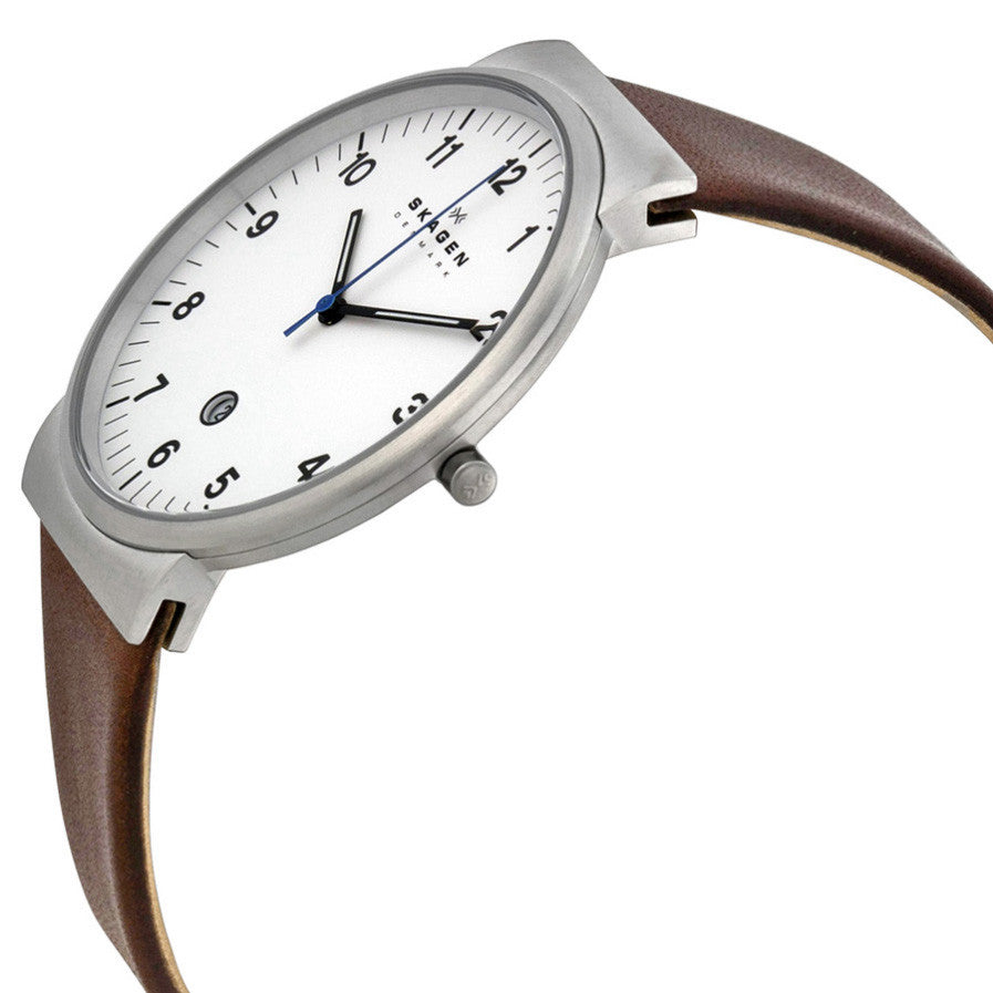 Ancher White Dial Brown Leather Men's Watch