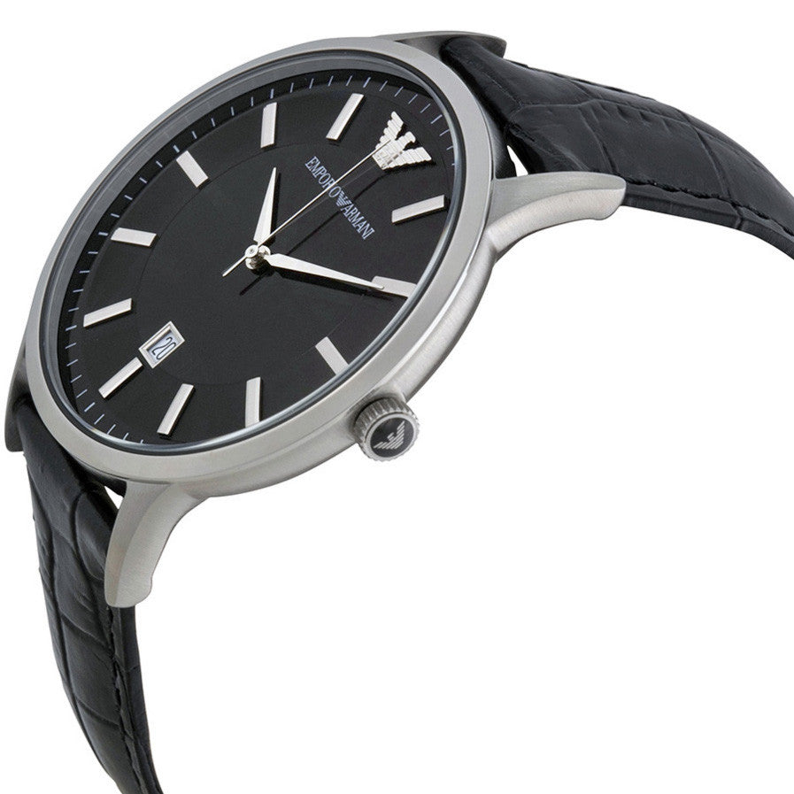 Black Dial Black Leather Men's Watch