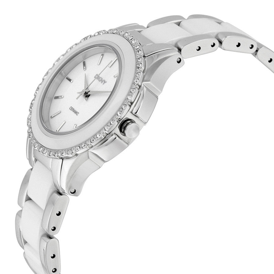 White Dial Stainless Steel White Ceramic Ladies Watch