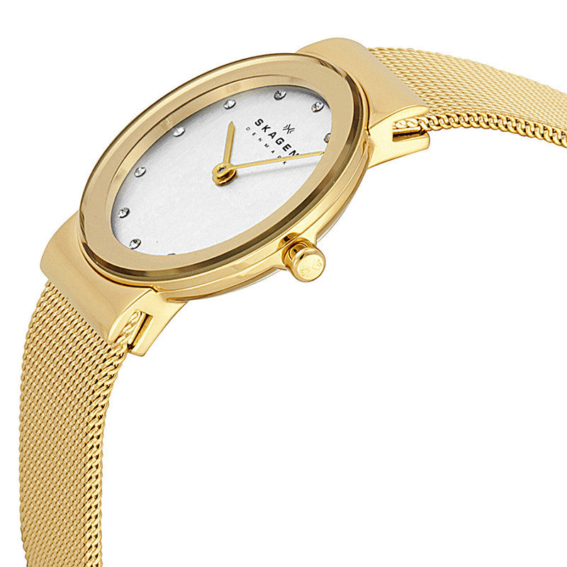 Freja Silver Dial Gold-plated Mesh Ladies Watch