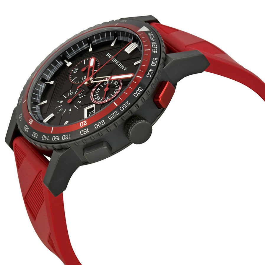 The City Chronograph Black Dial Red Rubber Men's Watch
