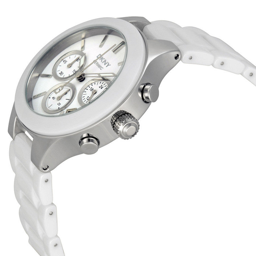 White Dial Chronograph White Ceramic Ladies Watch