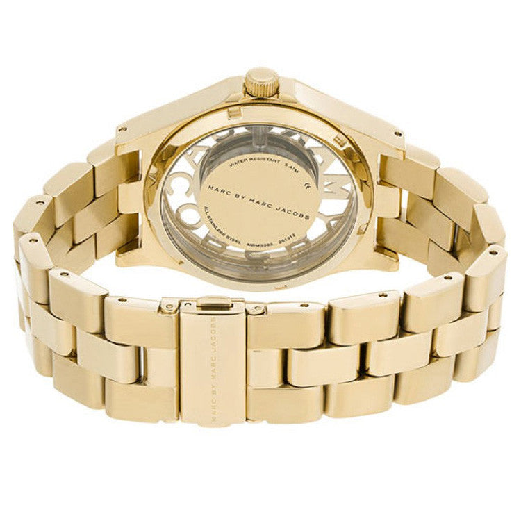 Henry Skeleton Dial Gold-tone Stainless Steel Ladies Watch