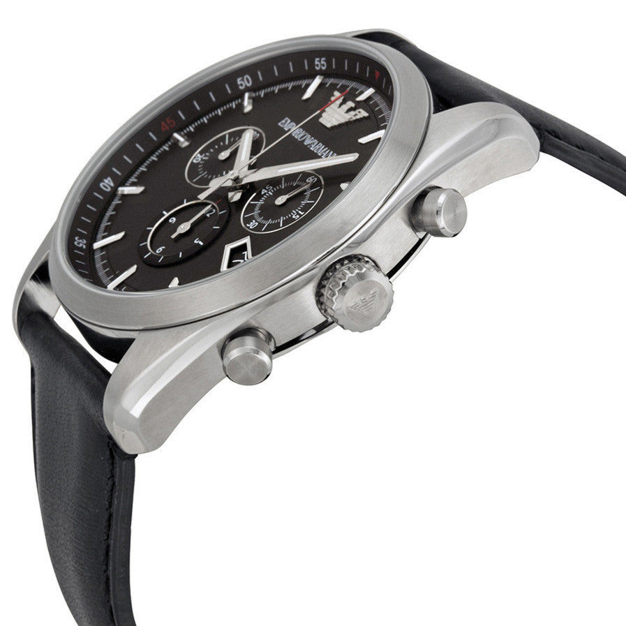 Black Dial Black Leather Strap Men's Watch