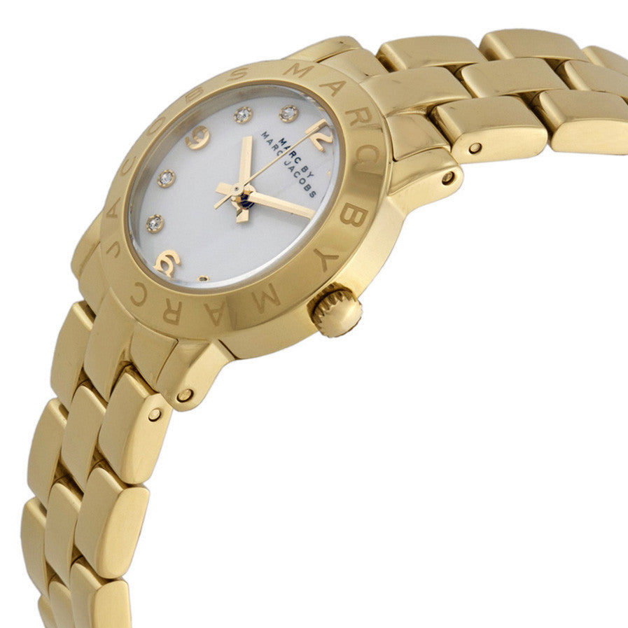 Mini Amy White Dial Gold-Tone Stainless Steel Ladies Watch
