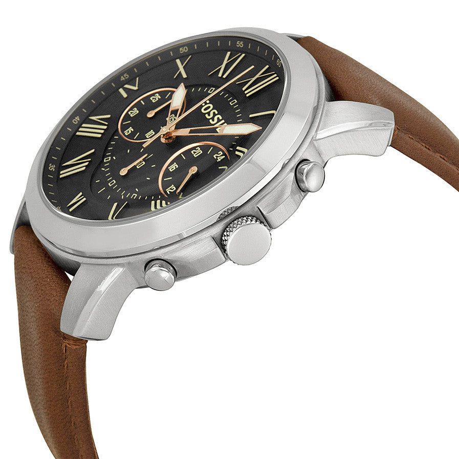 Grant Chronograph Black Dial Brown Leather Men's Watch